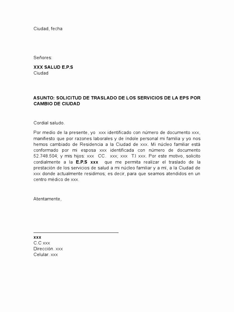Formato De Carta De solicitud Unique formato Carta solicitud De Traslado De Eps