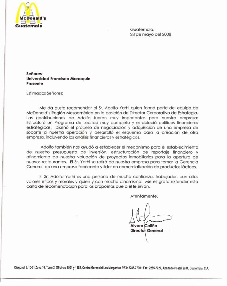 Formato De Carta Recomendacion Laboral Awesome Carta De Re Endación Mcdonald S