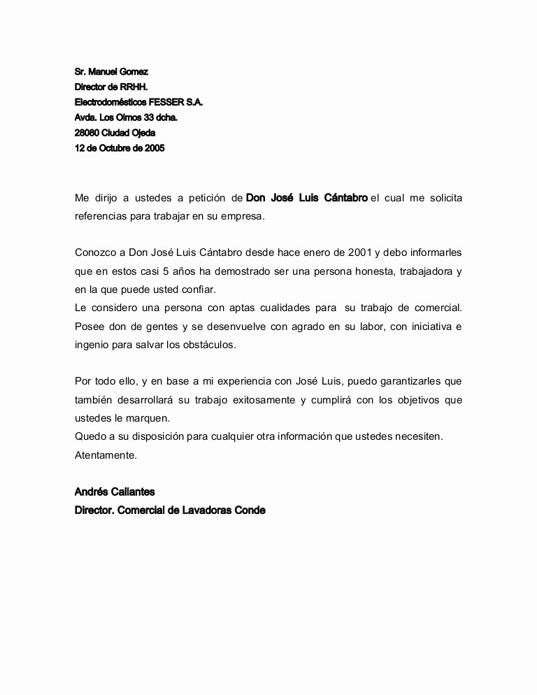 Formato De Carta Recomendacion Laboral Fresh Carta De Re Endación