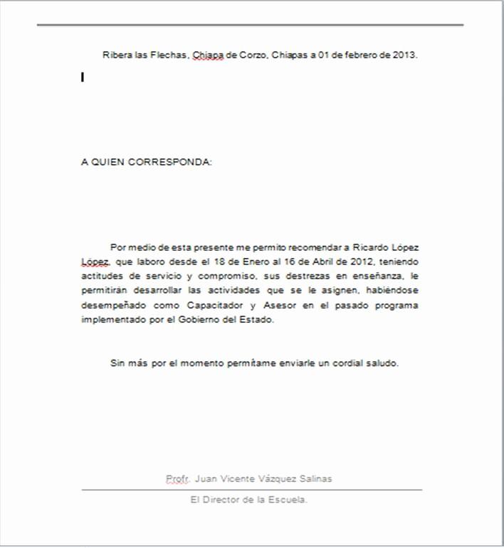 Formato De Carta Recomendacion Laboral Fresh formato De Carta De Re Endacion Laboral En Word Imagui
