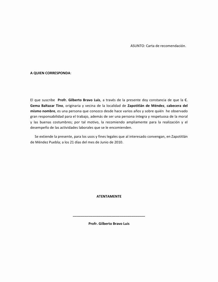 Formato De Carta Recomendacion Laboral Inspirational Carta De Re Endación