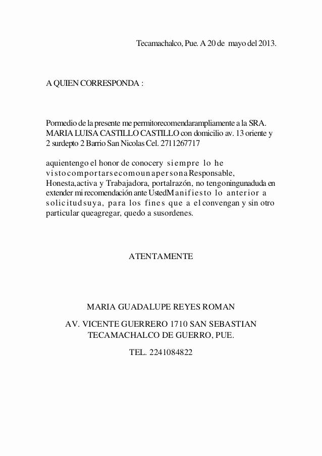 Formato De Carta Recomendacion Laboral Lovely Carta De Re Endacion