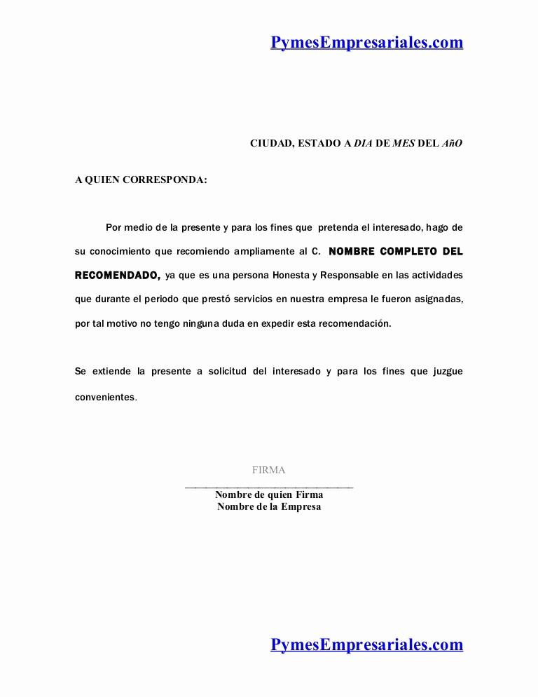 Formato De Carta Recomendacion Laboral Luxury formato Carta Re Endacion