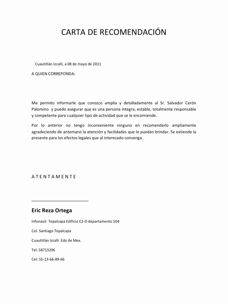 Formato De Carta Recomendacion Laboral Unique Carta De Re Endación Personal ¿cómo Hacer Una Aqu