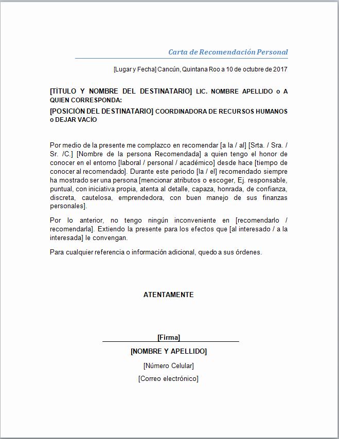 Formato De Carta Recomendacion Laboral Unique Carta De Re Endación Personal