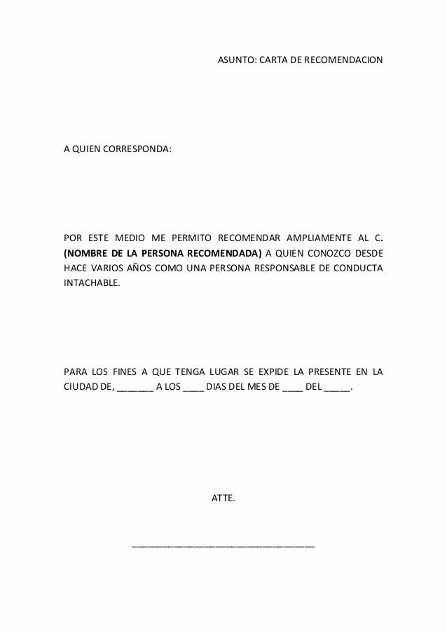 Formato De Carta Recomendacion Laboral Unique Cartas De Re Endacion formato Imagui