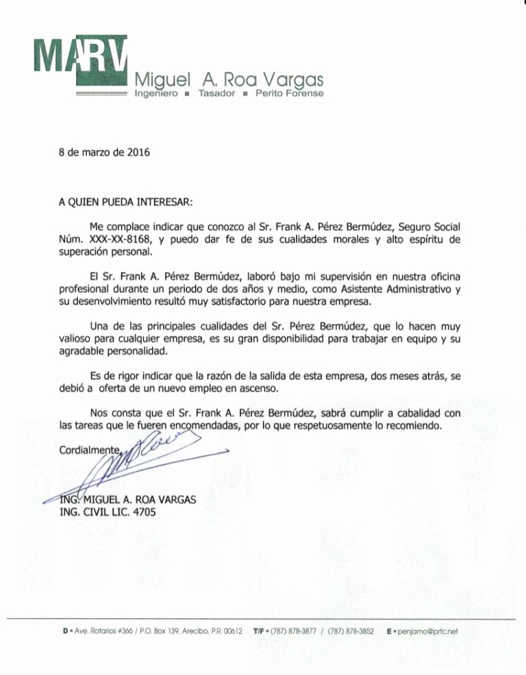 Formato De Carta Recomendacion Personal Fresh Carta De Re Endacion