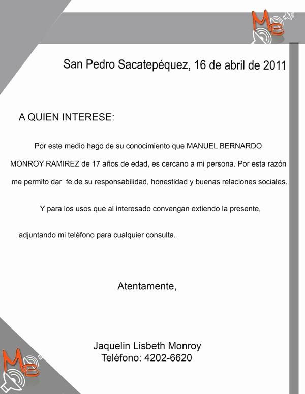 Formato De Carta Recomendacion Personal Fresh formato Carta Re Endacion Laboral Word Imagui