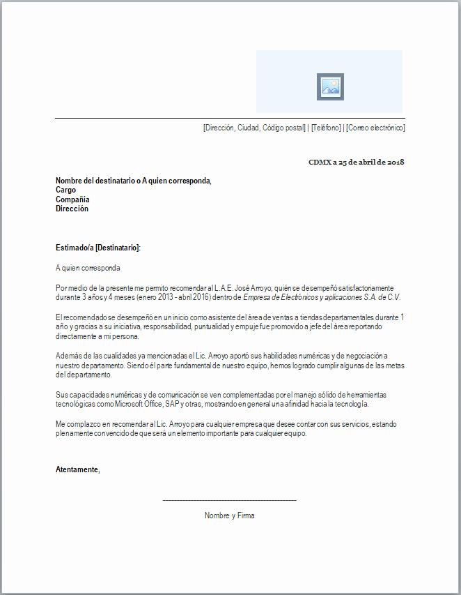 Formato De Carta Recomendacion Personal Inspirational Carta De Re Endación Laboral formatos Y Ejemplos