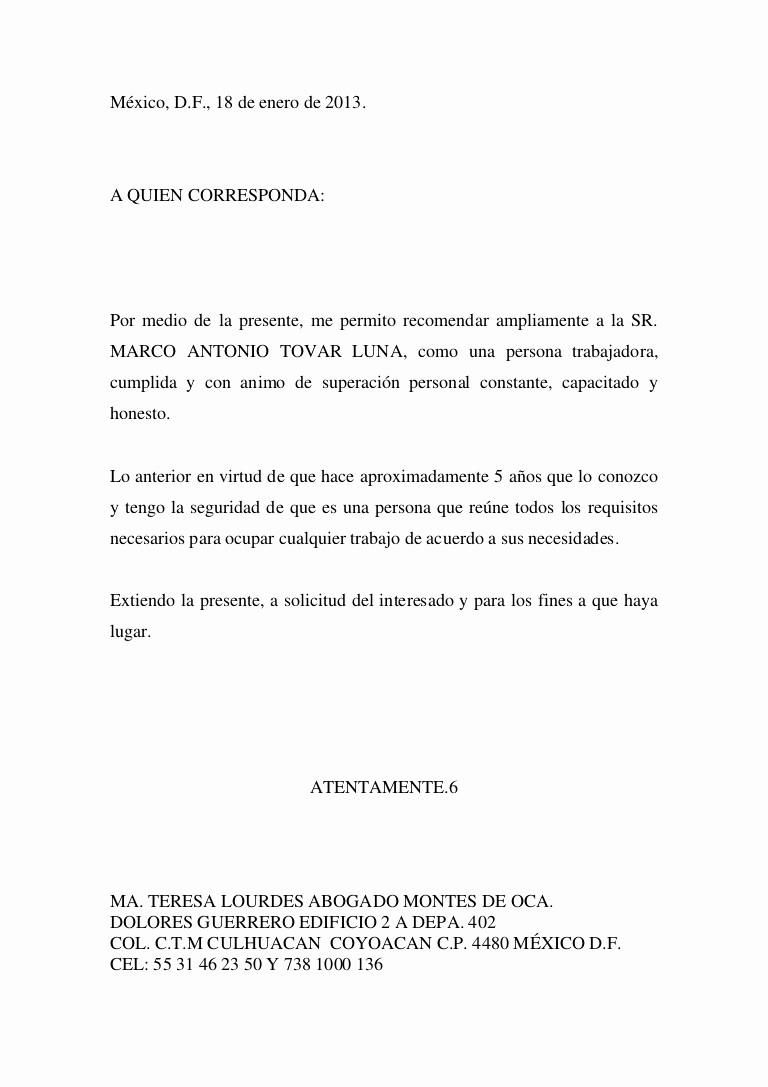 Formato De Carta Recomendacion Personal Inspirational Carta De Re Endacion