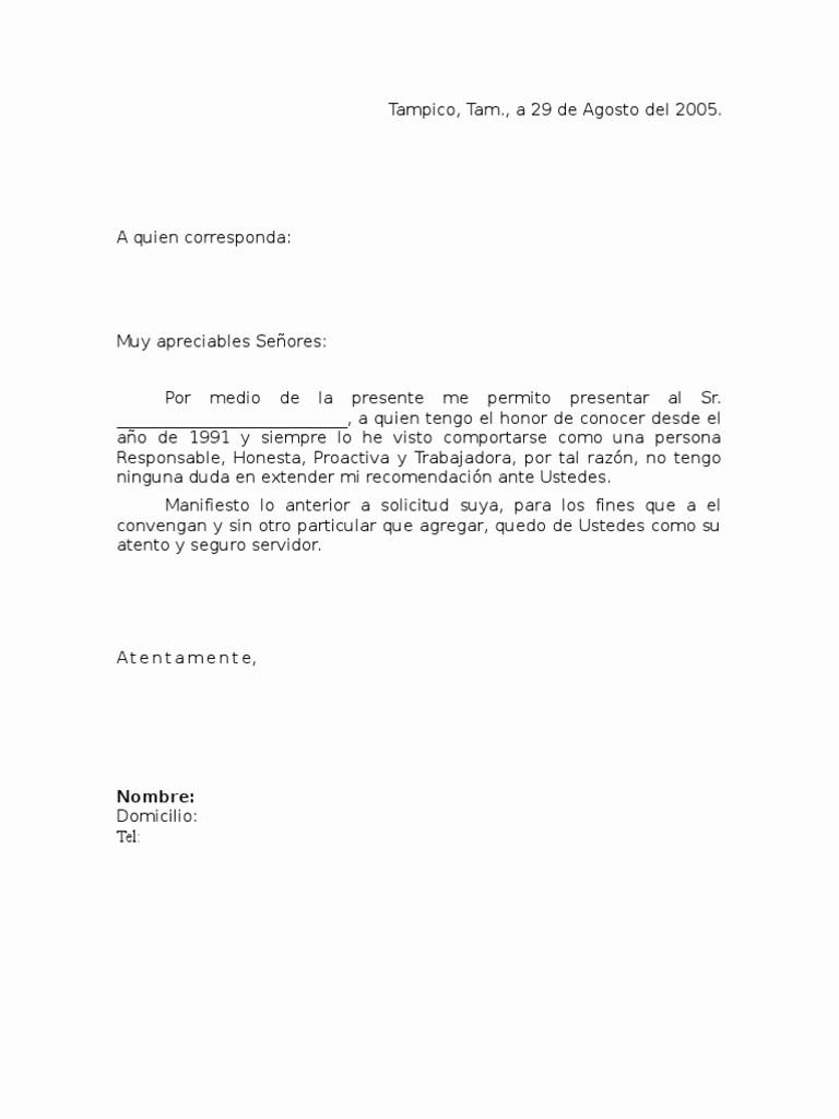 Formato De Carta Recomendacion Personal Inspirational Carta De Re Endación Personal