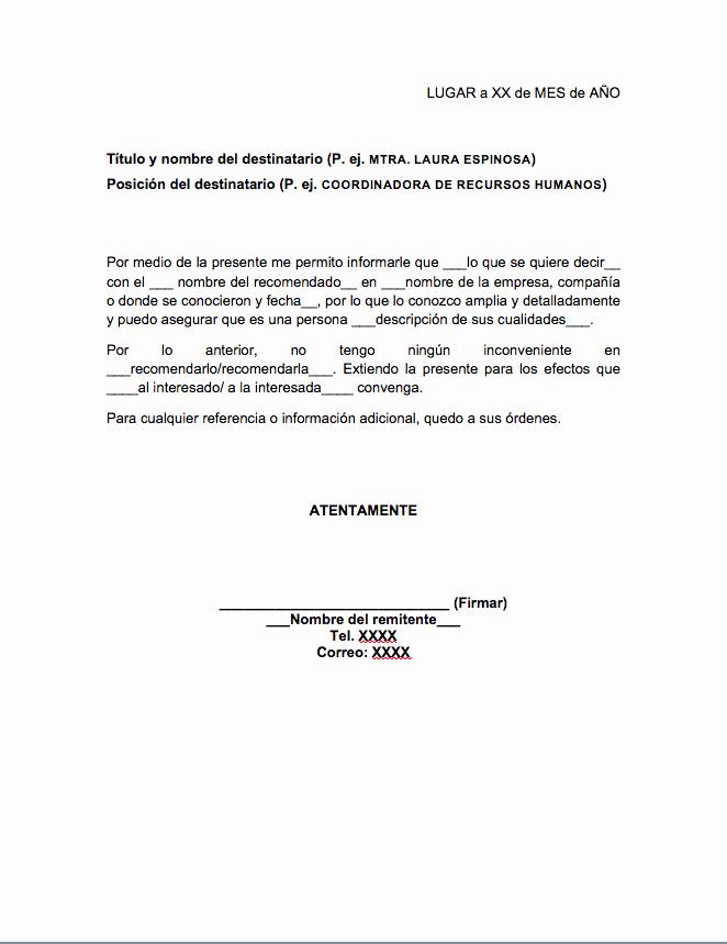 Formato De Carta Recomendacion Personal Lovely Carta De Re Endación Personal formatos Y Ejemplos