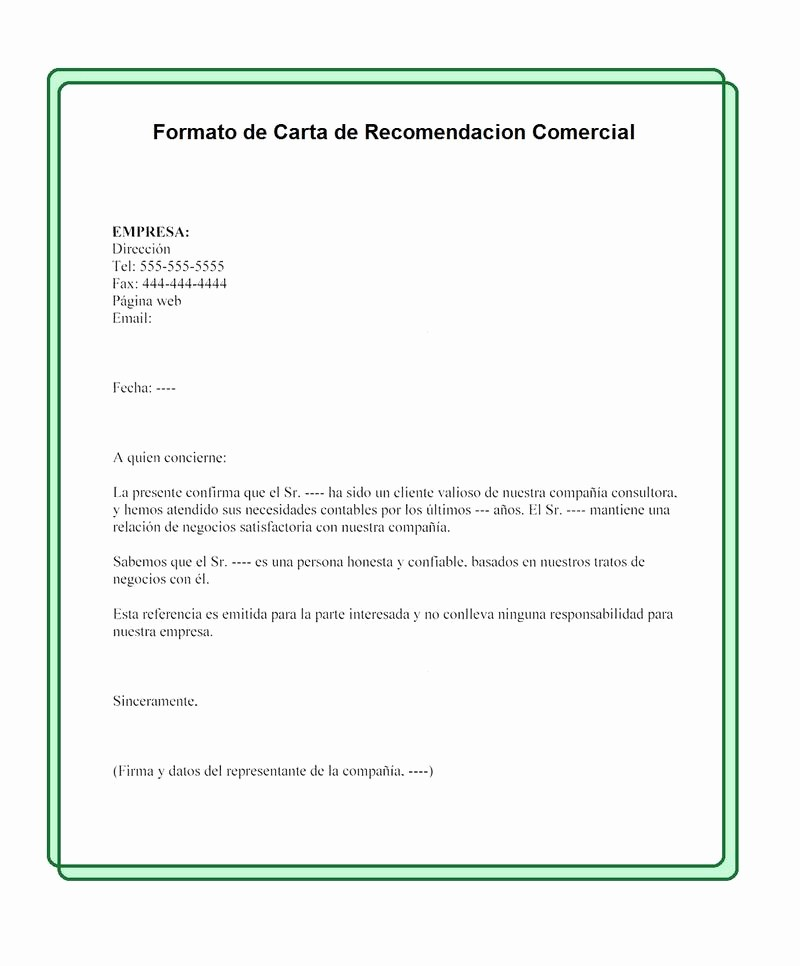 Formato De Carta Recomendacion Personal Unique formato De Carta De Re Endación Ercial