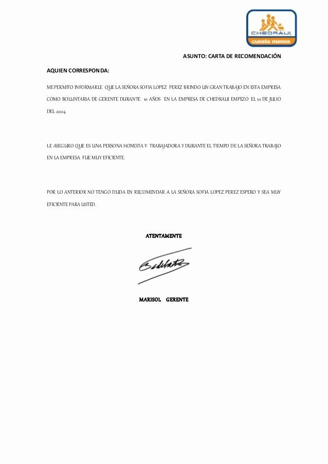 Formato De Cartas De Recomendacion Awesome Carta De Re Endacion