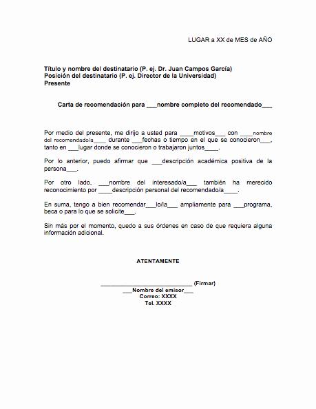 Formato De Cartas De Recomendacion Elegant Carta De Re Endación Académica formatos Y Ejemplos