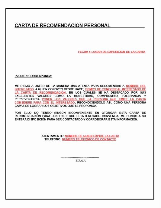 Formato De Cartas De Recomendacion Elegant Carta De Re Endacion Personal