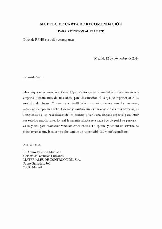 Formato De Cartas De Recomendacion Fresh Ejemplo De Carta De Re Endación Para Servicio De