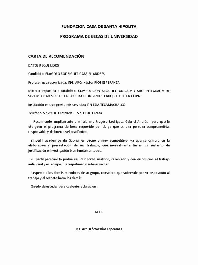 Formato De Cartas De Recomendacion Inspirational formato Carta Re Endacion Para Alumnos