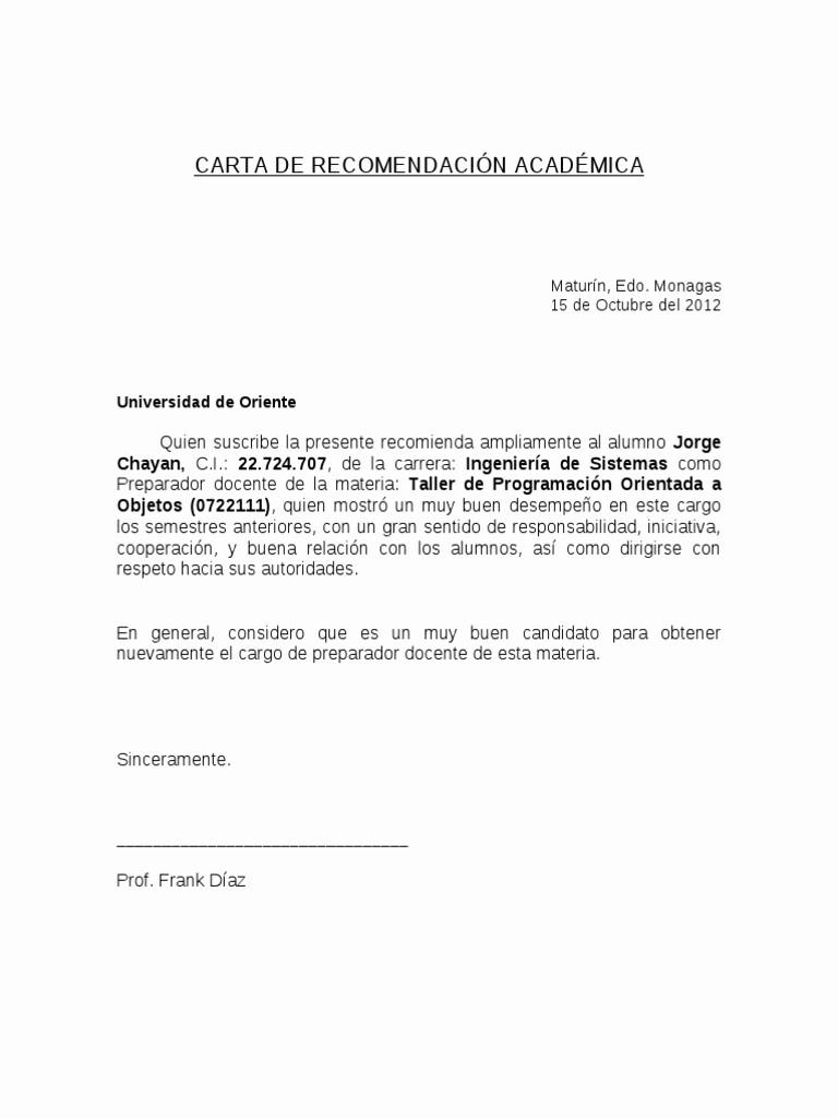 Formato De Cartas De Recomendacion Luxury Carta De Re Endacion Academica