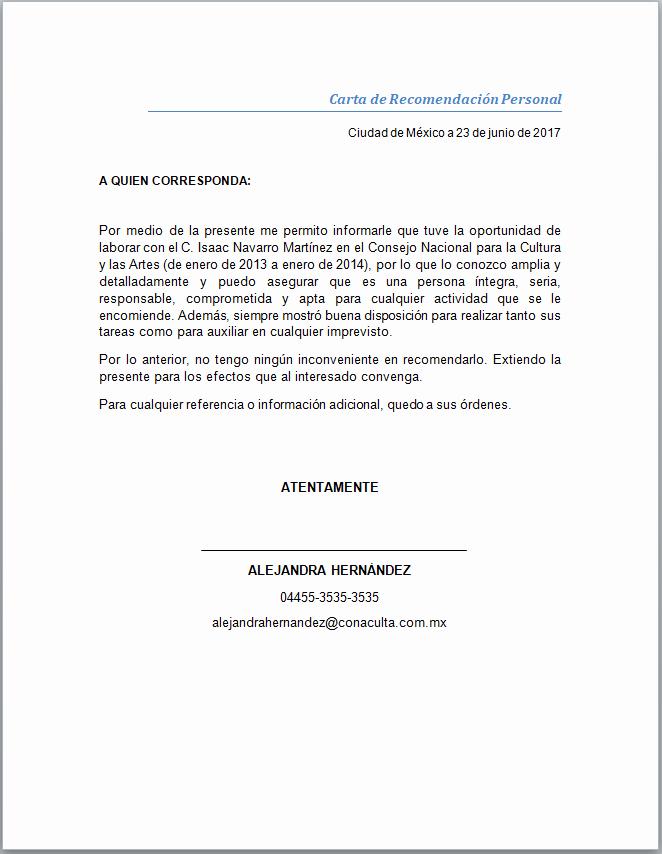 Formato De Cartas De Recomendacion Luxury Carta De Re Endación Personal