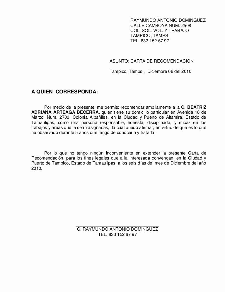 Formato De Cartas De Recomendacion Luxury Carta Re Endacion