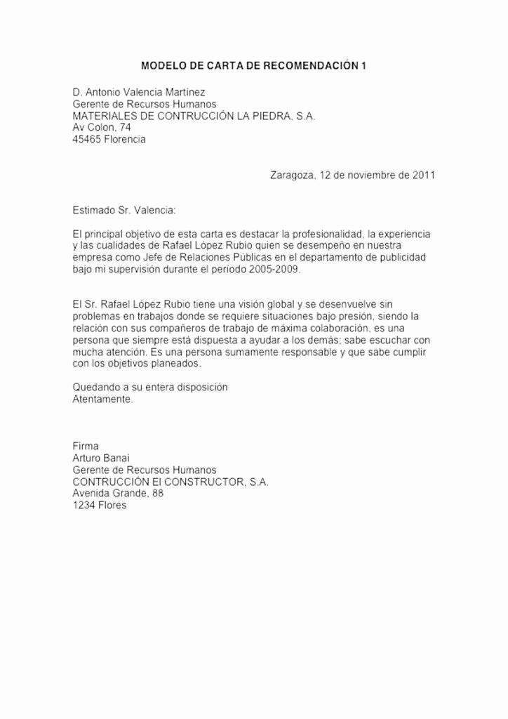 Formato De Cartas De Recomendacion Luxury Ejemplo De Carta De Re Endación formal Ejemplos De