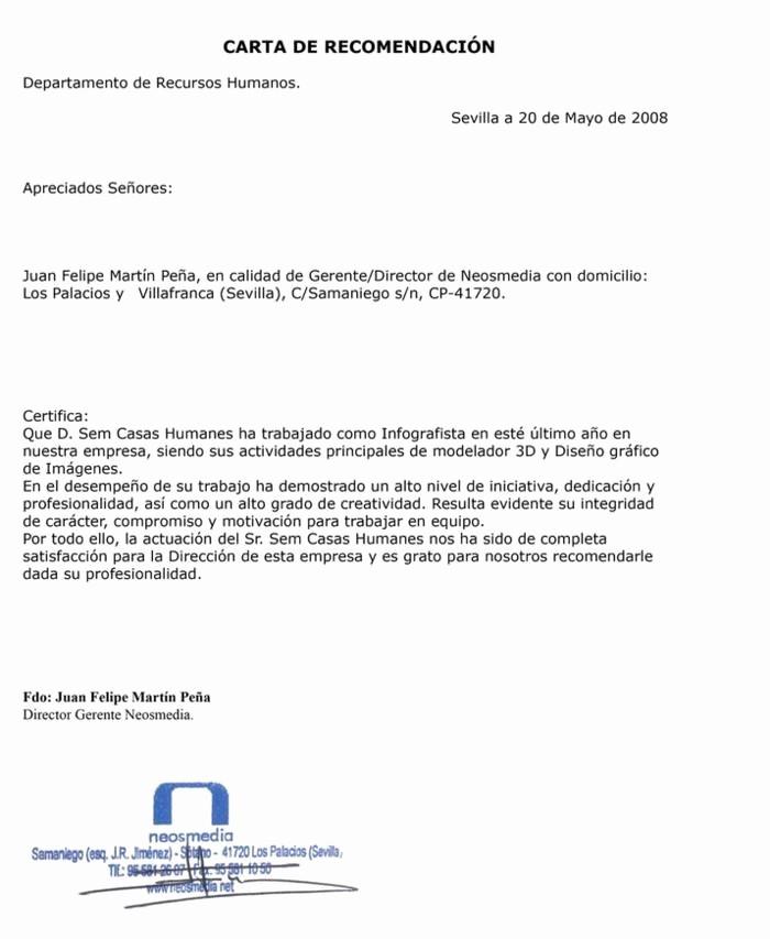 Formato De Cartas De Recomendacion New Modelo De Carta De Re Endacion Laboral