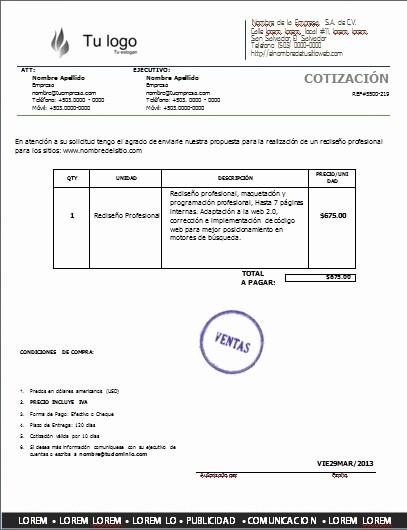 Formato De Cotizacion De Servicio Beautiful orden De Pra