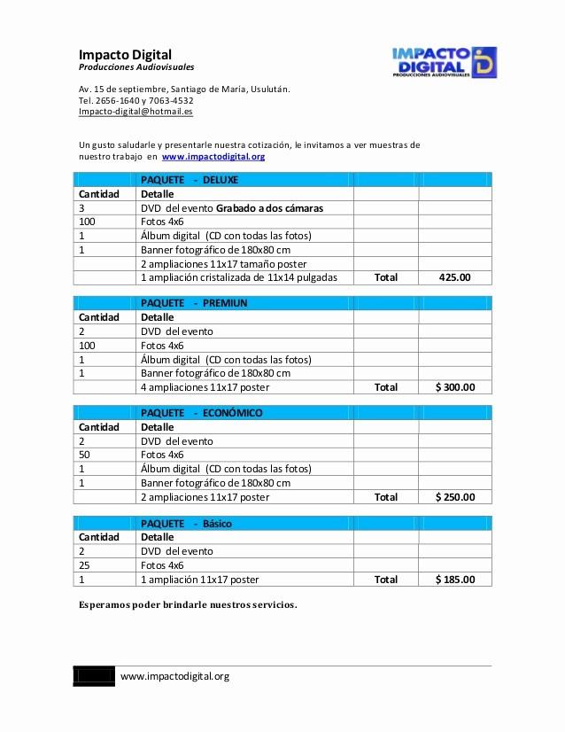 Formato De Cotizacion De Servicio Fresh Cotizacion Impacto Digital Vigente Diciembre 2012 2013