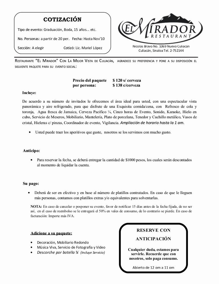 Formato De Cotizacion De Servicio Inspirational Cotizacion P eventos