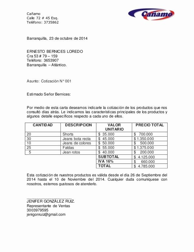 Formato De Cotizacion De Servicio Luxury Carta De Cotizacion