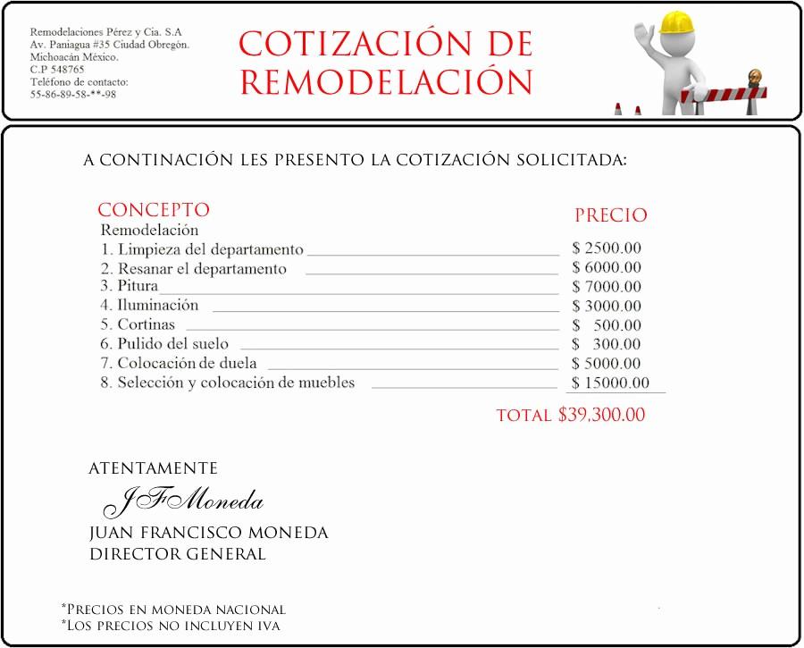 Formato De Cotizacion De Servicio New Ejemplo De Presupuesto O Cotización