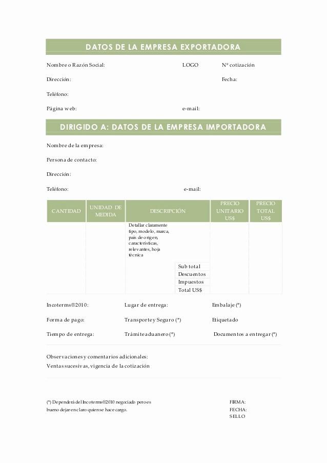 Formato De Cotizacion De Servicio New Modelo De Cotización