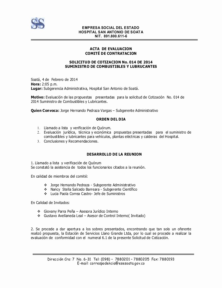 Formato De Cotizacion De Servicio Unique Acta Evaluacion solcotiz 014 2014 1