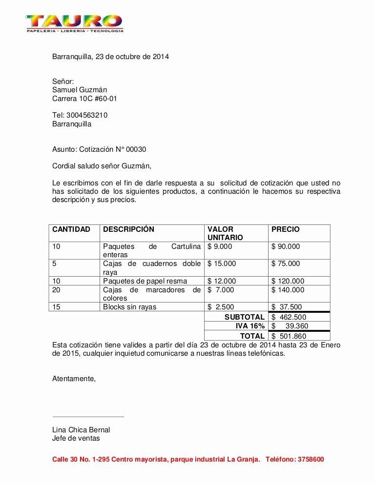 Formato De Cotizacion De Servicio Unique Carta De Cotizacion