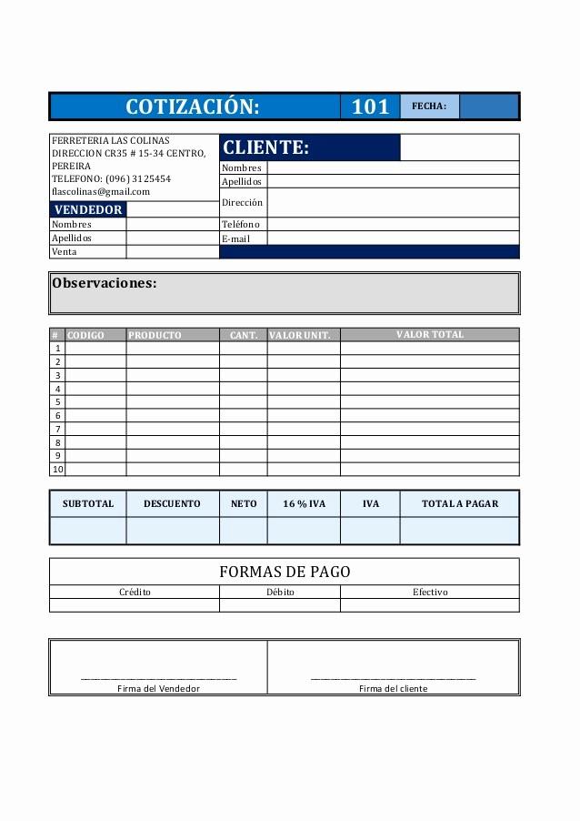 Formato De Cotizacion De Servicio Unique formato De Cotización