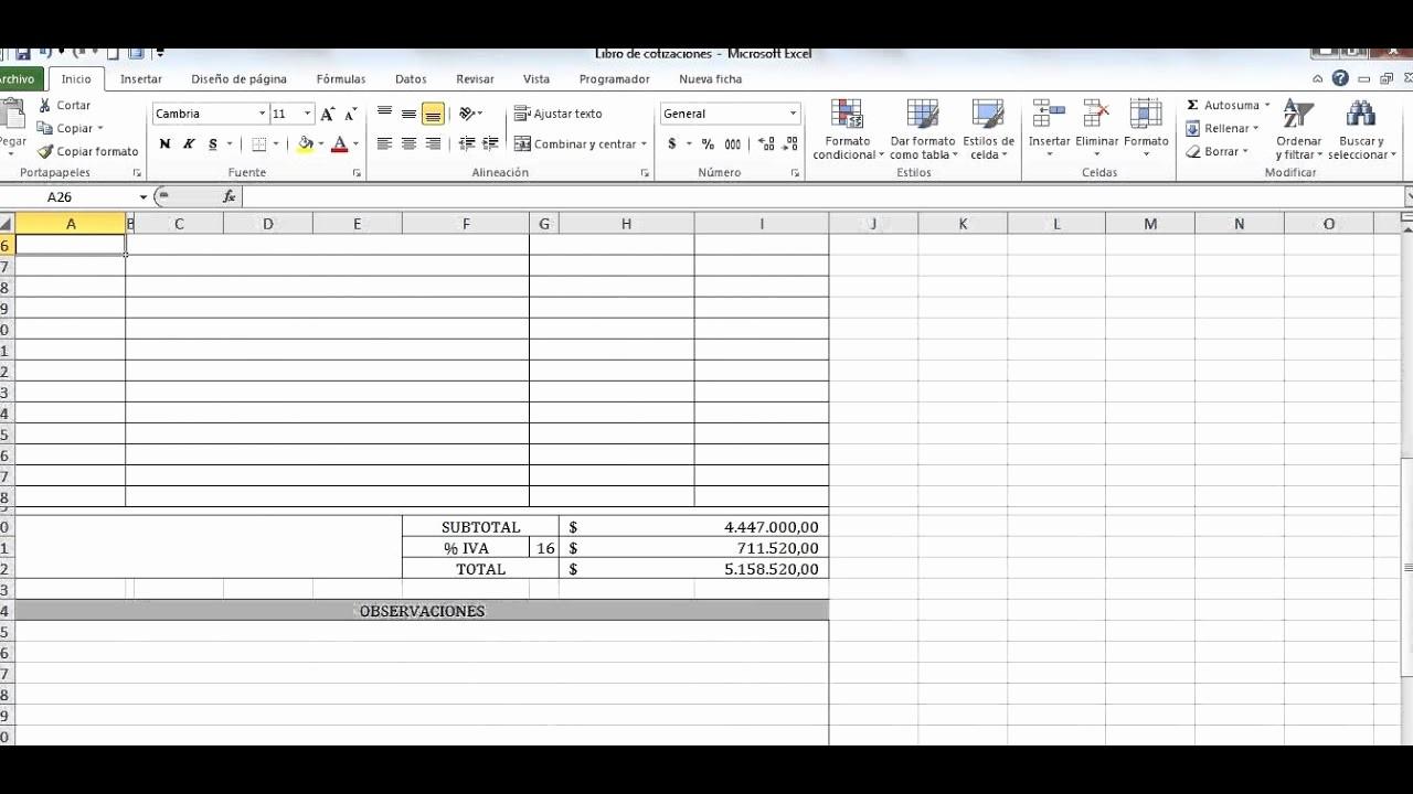 Formato De Cotizacion En Excel Awesome Cotizaciones En Excel