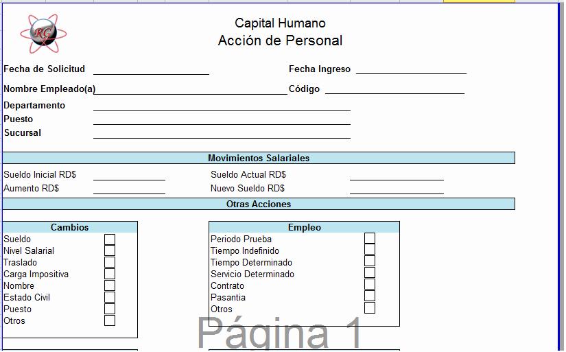 Formato De Cotizacion En Excel Beautiful Ramon Gracesqui Plantilla En Excel De Acción De Personal