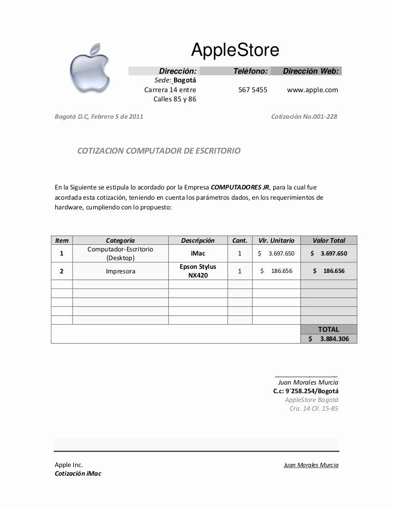 Formato De Cotizacion En Excel Elegant Cotizacion Apple Indi