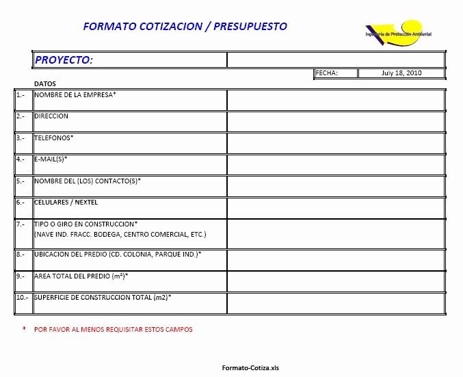 Formato De Cotizacion En Excel Inspirational Presupuestos Ing De Proteccion Ambiental