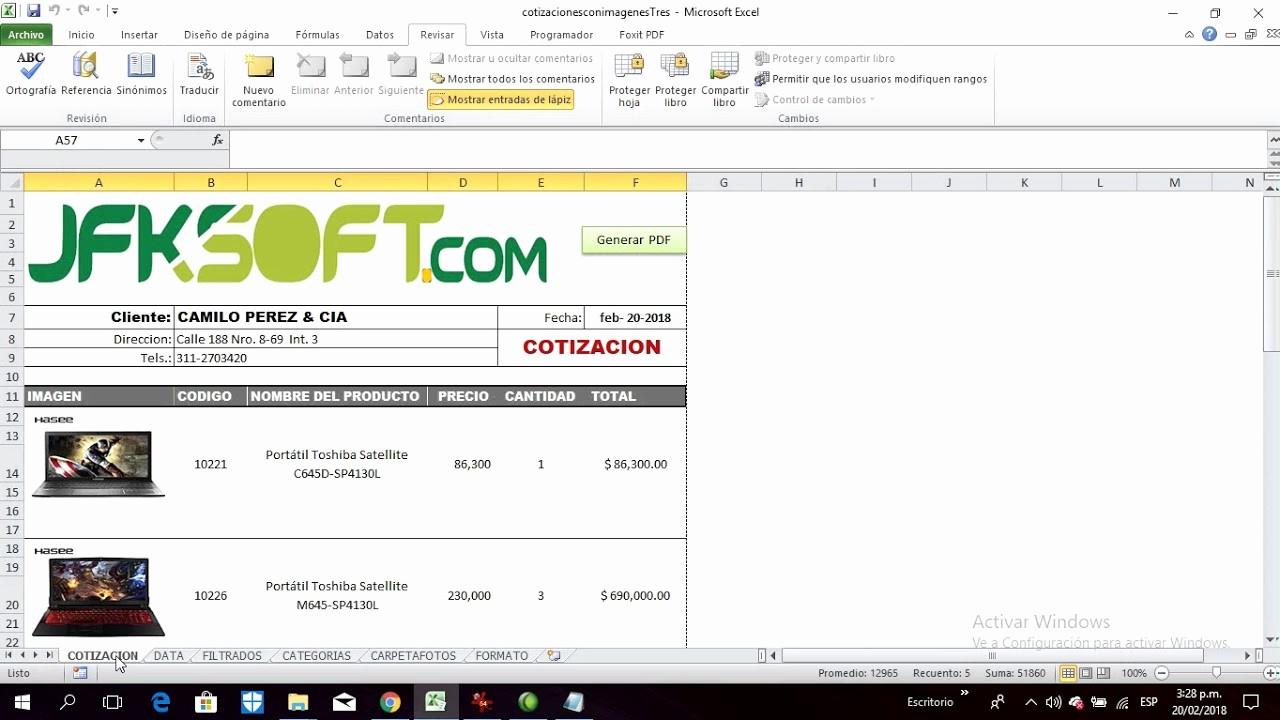 Formato De Cotizacion En Excel Luxury Premium Tutorial De La Plantilla Cotizaciones Con Fotos