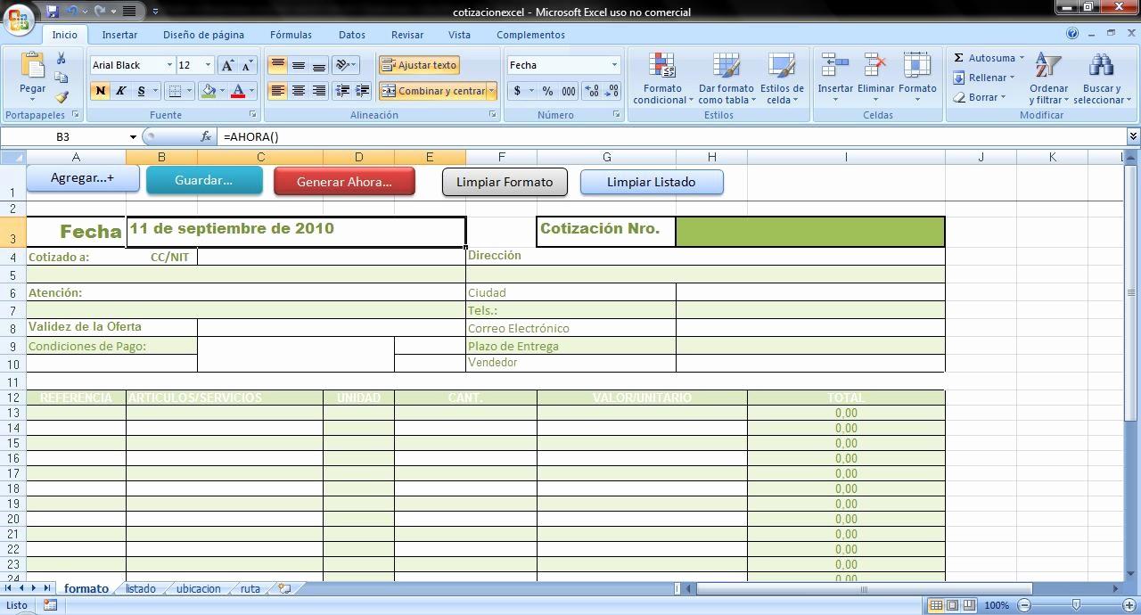 Formato De Cotizacion En Excel Unique formato De Cotizaciones