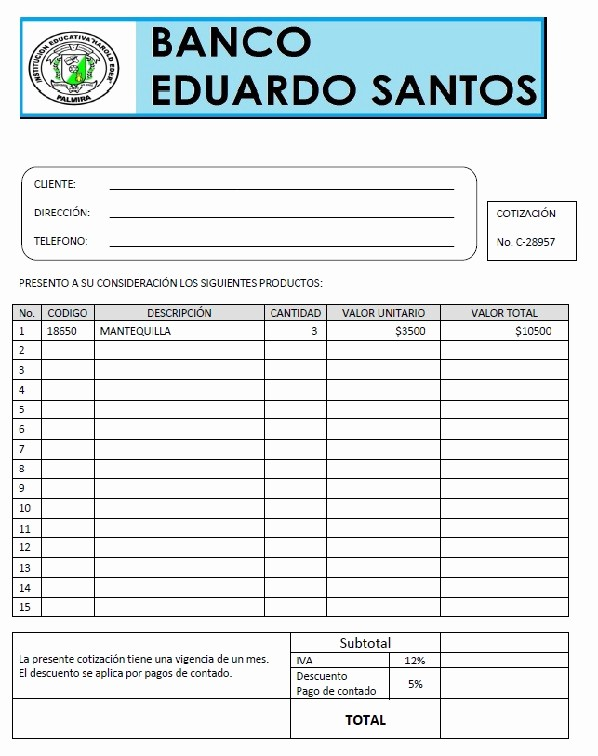 Formato De Cotizacion En Word Elegant Iehe Sede Eduardo Santos Grado 7 1 2013