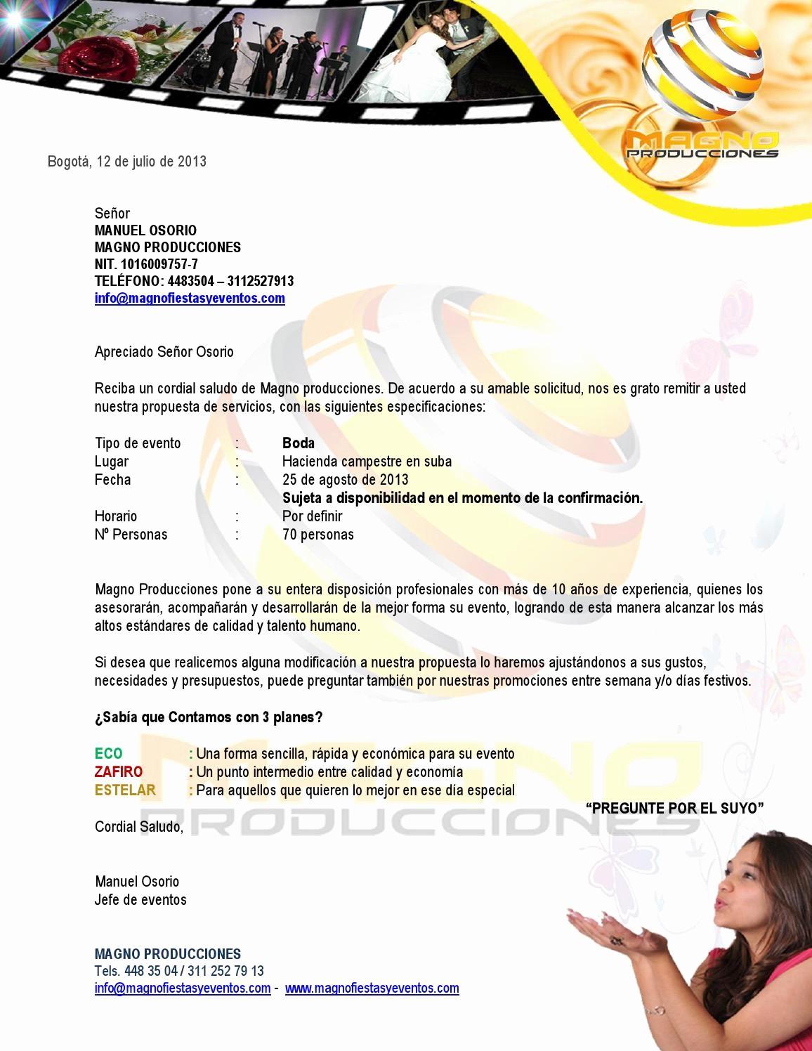Formato De Cotizacion Para eventos Best Of Cotizacion formato Magno by Manuel Osorio issuu