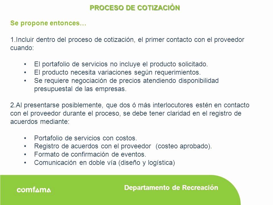 Formato De Cotizacion Para eventos Fresh Proceso De CotizaciÓn Consideraciones Generales Ppt