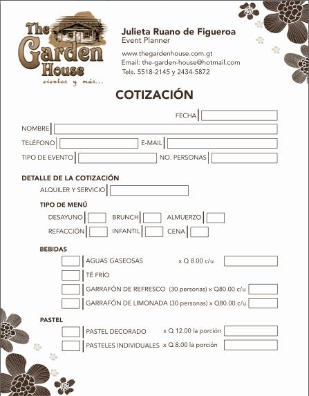 Formato De Cotizacion Para eventos Luxury Hojas De Cotización On Behance
