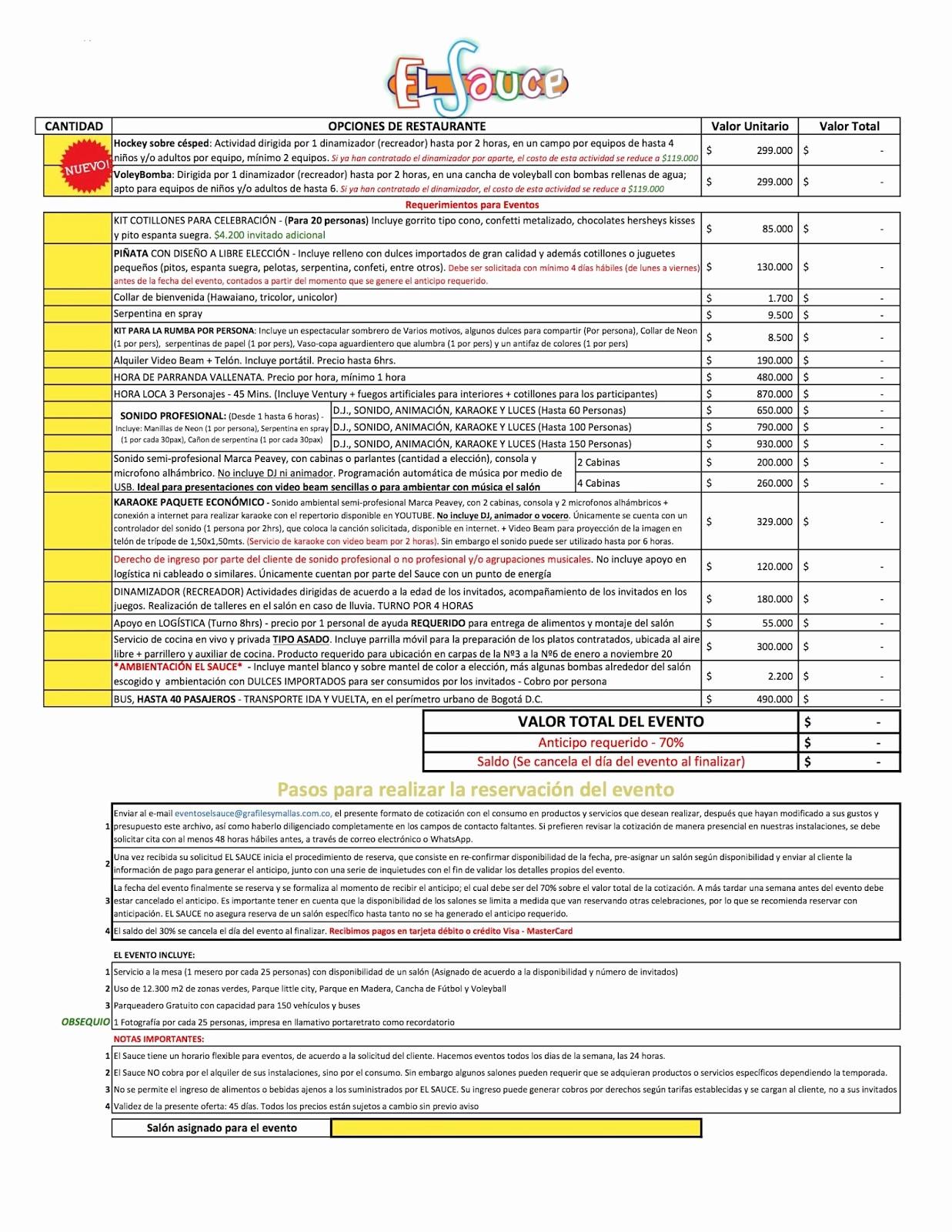 Formato De Cotizacion Para eventos Unique Centro De eventos Parque Restaurante El Sauce eventos