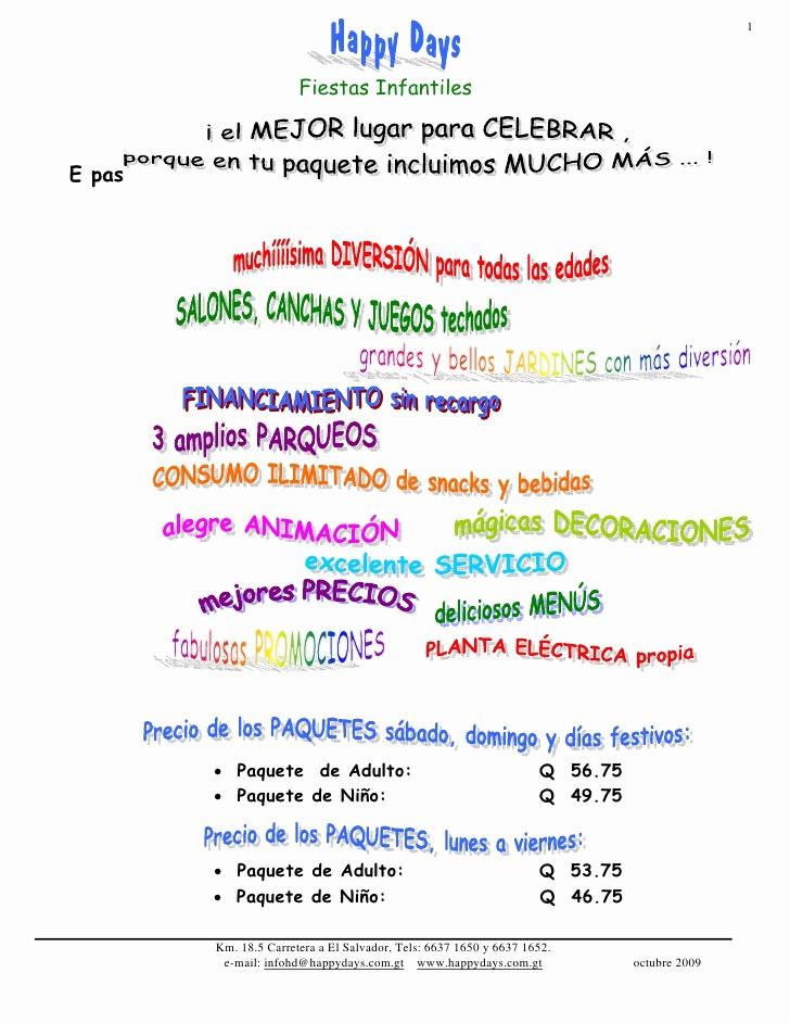 Formato De Cotizacion Para eventos Unique Fiestas Infantiles