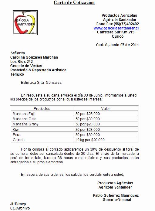 Formato De Cotizacion Para Llenar Elegant Agrcola Santander Carta De Cotización Maria Ignacia Ruiz