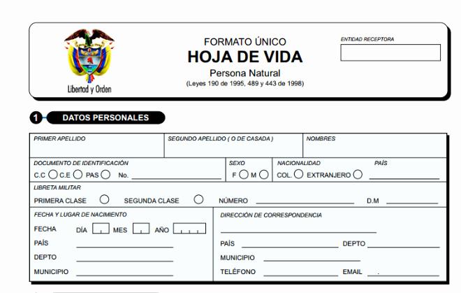 Formato De Cotizacion Para Llenar New formato Único De Hoja De Vida